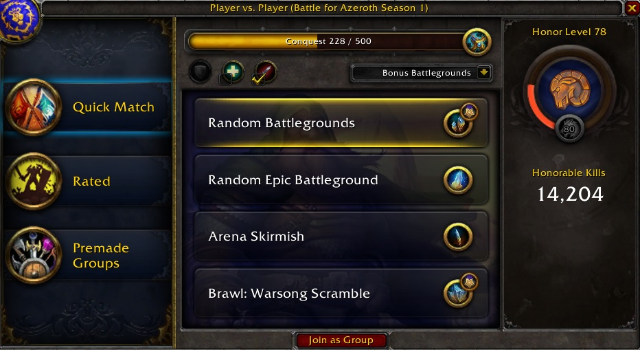 Conquest Points, WOW, Battle for Azeroth, Item