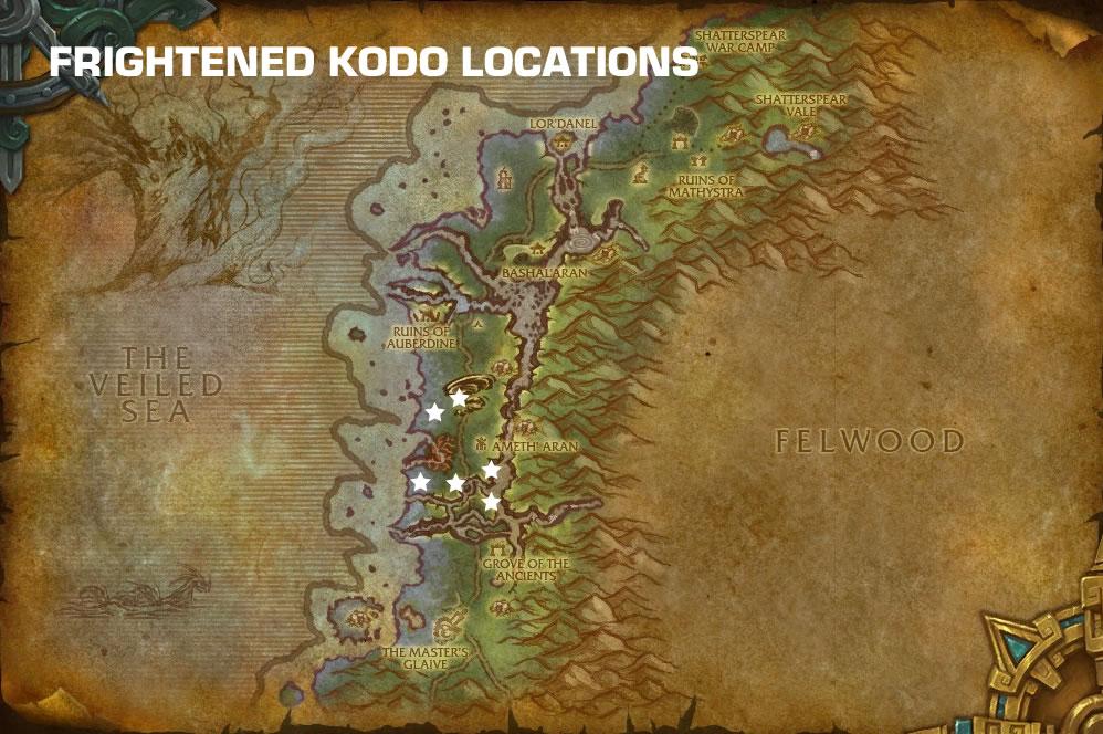 Frightened Kodo Locations
