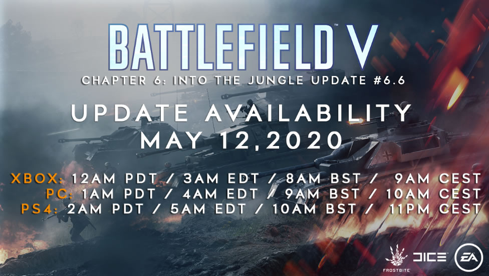 Battlefield 5 Update 1.34 Patch Notes 6.6 on May 12th