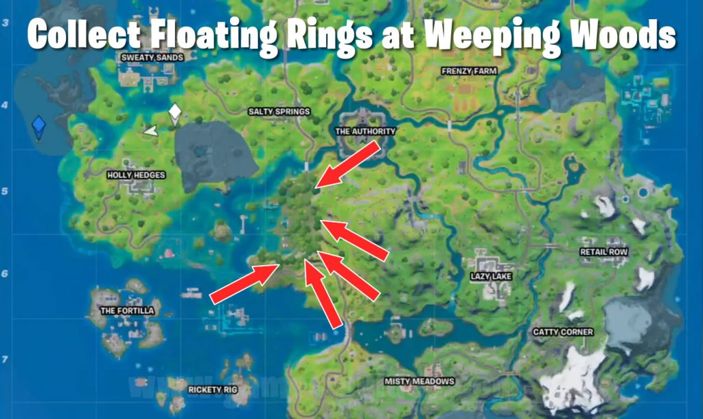 Floating Rings Locations Map - Weeping Woods