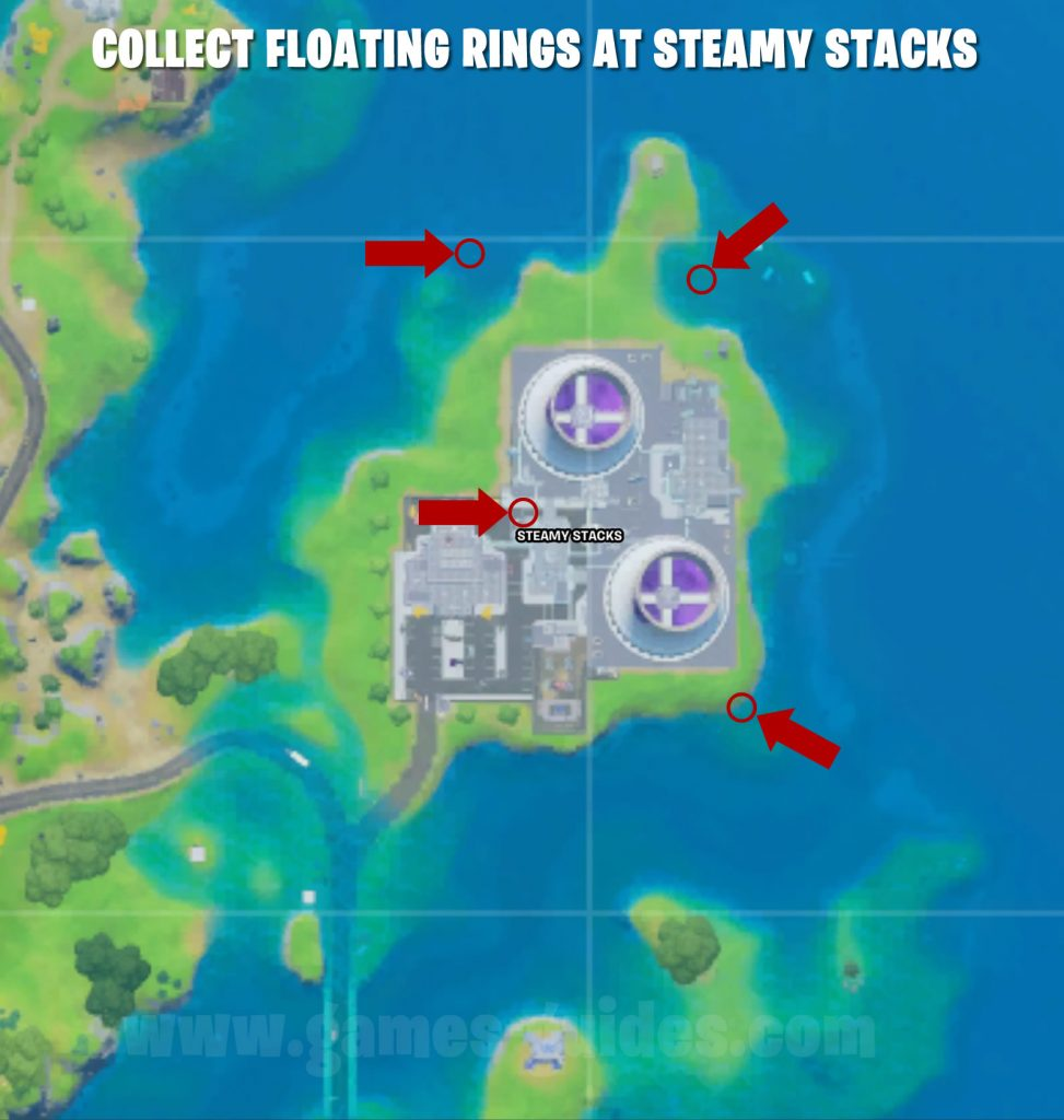 Floating Rings at Steamy Stacks Map