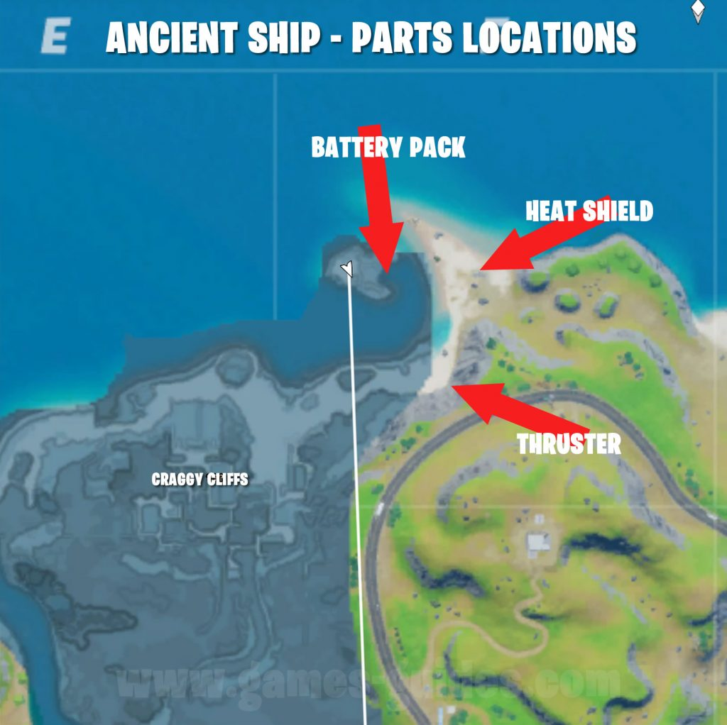 Fortnite Ancient Ship Parts Locations Map