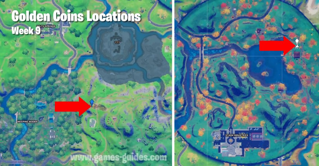 Golden Coins Locations Map