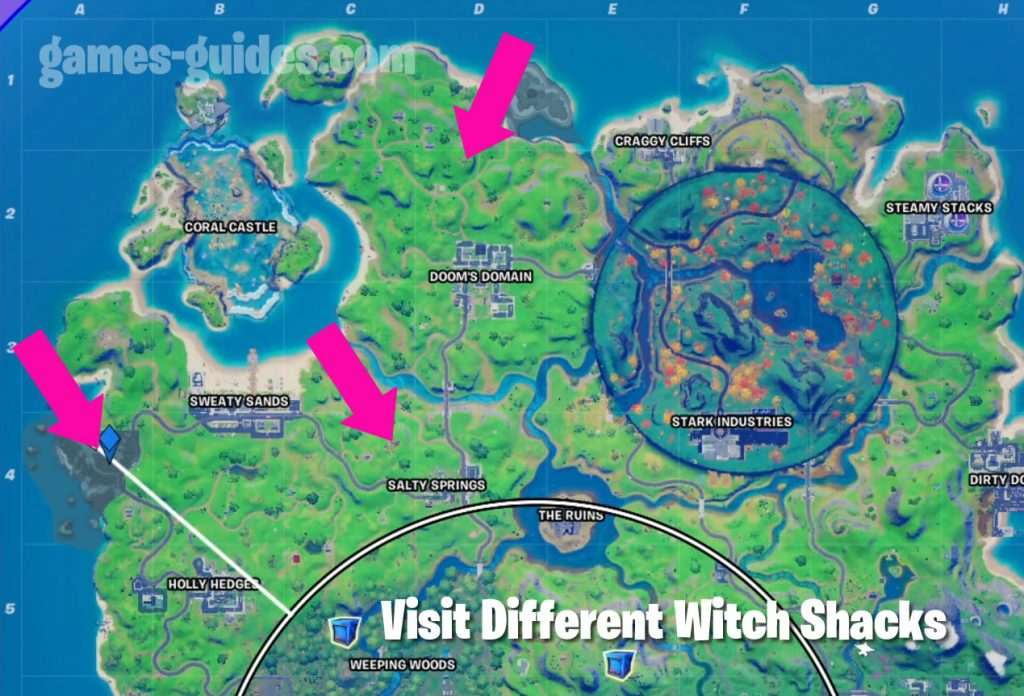 Fortnite Witch Shacks Map Locations