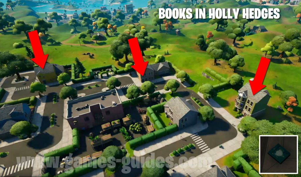 Colelct Books in Holy Hedges Map