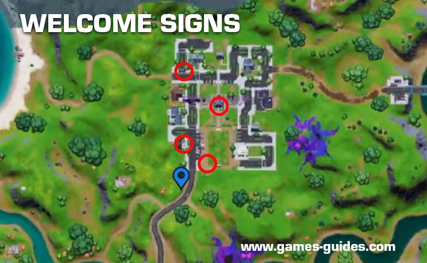 Welcome Signs Locations Map Fortnite